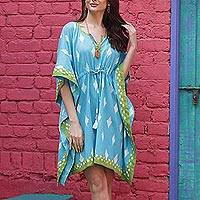 Printed cotton caftan, 'Diamonds Are Forever' - Screen Printed Turquoise Cotton Caftan from India