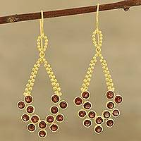 Garnet dangle earrings, 'Brilliant Tears in Red' - Gold Plated Sterling Silver Garnet Teardrop Dangle Earrings