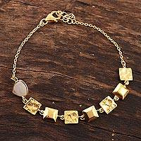 Gold plated rainbow moonstone link bracelet, 'Golden Plaza' - 18k Gold Plated Rainbow Moonstone Bracelet