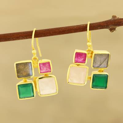 Gold plated multi-gemstone dangle earrings, 'Vibrant Frames' - Gold Plated Multi-Gemstone Square Dangle Earrings from India