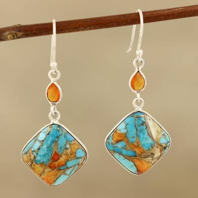 Carnelian dangle earrings, 'Colorful Kites' - Carnelian and Composite Turquoise Sterling Silver Earrings