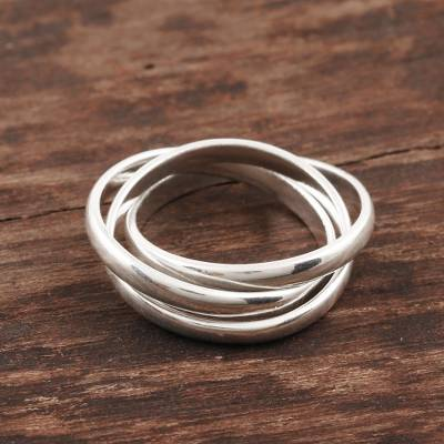 Sterling silver band ring, 'Shiny Trio' - Sterling Silver Interlocked Band Ring Crafted in India
