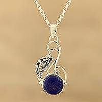 Lapis lazuli pendant necklace, 'Exquisite Blue' - Lapis Lazuli and Sterling Silver Pendant Necklace