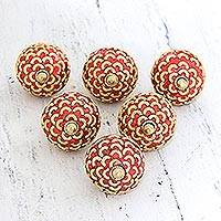 Mango wood knobs, 'Golden Arcs' (set of 6) - Set of 6 Red Bead and Brass Plated Mango Wood Knobs