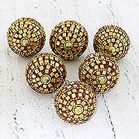 Wood and glass bead knobs, 'Mirror, Mirror' (set of 6) - Red and Gold Glass and Mirror Embellished Wood Knobs (6)
