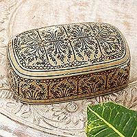 Papier mache decorative box, 'Srinagar Elegance' - Small Decorative Wood and Papier Mache Box