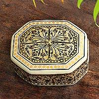 Papier mache decorative box, 'Srinagar Legacy' - Black and Gold Hand Painted Decorative Wood Box