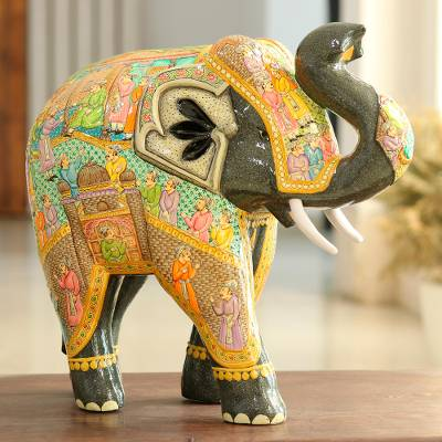 Wood and papier mache sculpture, 'Mughal Elephant' (14 inch) - Hand Painted Papier Mache Elephant Sculpture (14 Inch)