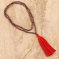 Hematite long pendant necklace, 'Red Tassel Trends' - Long Beaded Hematite Red Tassel Necklace from India