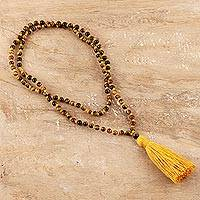 Tiger's eye long pendant necklace, 'Yellow Tassel Trends' - Long Beaded Tiger's Eye Tassel Necklace from India