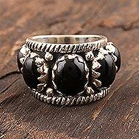 Onyx cocktail ring, 'Industrial Edge' - Black Onyx Cabochon Cocktail Ring from India