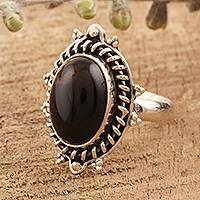 Onyx cocktail ring, 'Rapt' - Onyx Cabochon Cocktail Ring from India