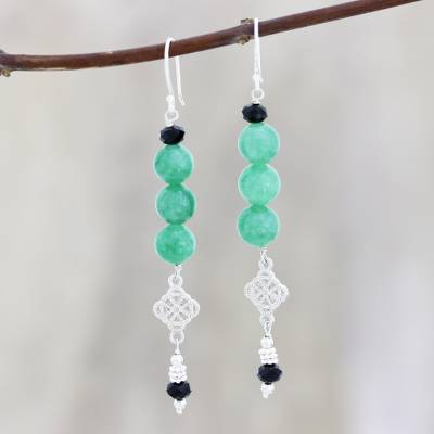 Aventurine and spinel dangle earrings, 'Lodhi Fusion' - Green Aventurine and Black Spinel Dangle Earrings