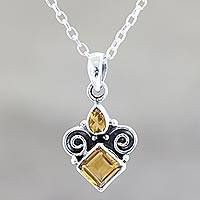 Citrine pendant necklace, 'Paramount' - Citrine Birthstone Pendant Necklace