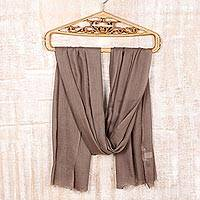 Wool and silk blend shawl, 'Kashmiri Sand' - Wool and Silk Blend Kashmir Taupe Brown Shawl