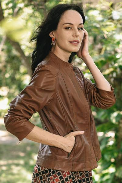 Women's Leather jacket 'Stylish Elegance'  - Moto Style Leather Jacket in Cinnamon