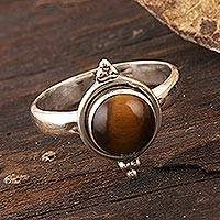 Tiger's eye single-stone ring, 'Earth Memory' - Simple Tiger's Eye and Sterling Silver Ring