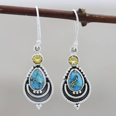 Citrine and composite turquoise dangle earrings, 'Aravalli Allure - Citrine and Composite Turquoise Earrings from India