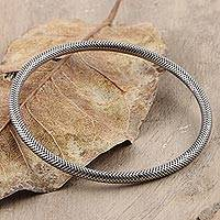 Sterling silver bangle bracelet, 'Grid' - Fine Grid Mesh Motif Sterling Silver Bangle Bracelet
