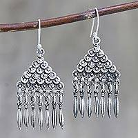 Sterling silver dangle earrings, 'Pyramid of Loops' - Oxidized Sterling Silver Dangle Earrings Pyramid Motif