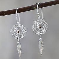Garnet dangle earrings, 'Fantastical Dream' - Sterling Silver Dream Catcher Earrings with Garnet
