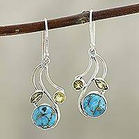 Citrine and composite turquoise dangle earrings, 'Triple Fascination' - Citrine and Composite Turquoise Earrings
