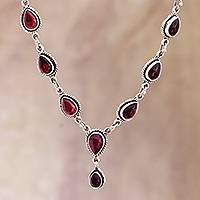 Garnet pendant necklace, 'On the Bright Side' - Garnet Cabochon Pendant Necklace