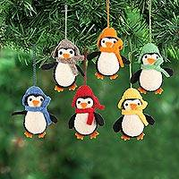 Wool felt ornaments, 'Cozy Penguins' (set of 6) - Handmade Felted Wool Penguin ornaments (Set of 6)