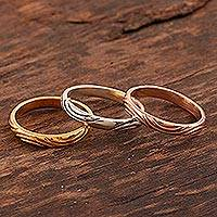 Gold plated and sterling silver stacking rings, 'Triple Union' (set of 3) - Gold and Silver Engraved Stacking Band Rings (Set of 3)