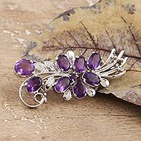 Amethyst brooch, 'Purple Bouquet' - Purple Bouquet Amethyst Rhodium Plated Silver Brooch