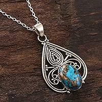Sterling silver pendant necklace, 'Agra Affinity' - Hand Crafted Sterling and Reconstituted Turquoise Necklace