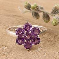 Amethyst cocktail ring, 'Treasured Flower' - Amethyst and Sterling Silver Flower Ring