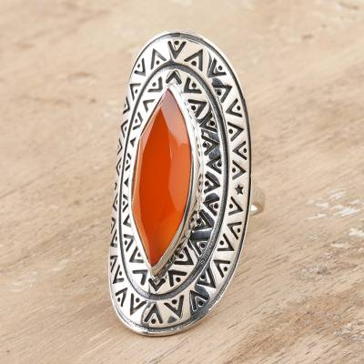 Carnelian cocktail ring, 'Eye of India' - Bold Artisan Crafted Carnelian Cocktail Ring