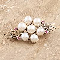 Cultured pearl and ruby brooch pin, 'Precious Bouquet' - Feminine Cultured Pearl and Ruby Brooch Pin