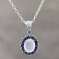Moonstone and sapphire pendant necklace, 'Blue Happiness' - Sterling Silver Moonstone and Sapphire Pendant Necklace