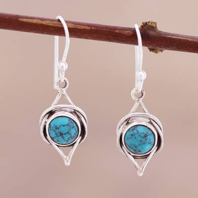 Sterling silver dangle earrings, 'Intricate Twirl in Turquoise' - Sterling Silver Earrings with Reconstituted Turquoise