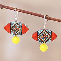 Sterling silver dangle earrings, 'Floral Eye' - Double Fired Terracotta Clay Earrings with Floral Motif
