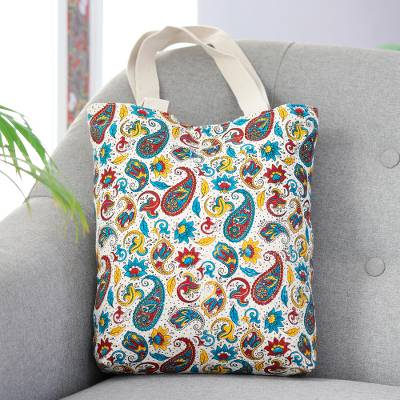 Cotton canvas printed tote, 'Proper Paisley' - Cheerful Cotton Multicolor Paisley Tote