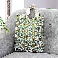 Cotton canvas printed tote, 'Paisley Joy' - Multicolored Paisley Floral Fully Lined Cotton Tote Bag