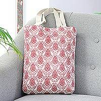 Cotton canvas tote, 'Floral Frame' - Cotton Canvas Screen Printed Tote with Magnetic Snap Closure