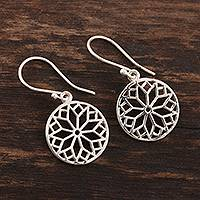 Sterling silver dangle earrings, 'Magical Mandala' - Handmade Sterling Silver Mandala Dangle Earrings