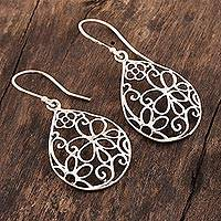Sterling silver dangle earrings, 'Flower Tears' - Floral Teardrop-Shaped Sterling Silver Earrings