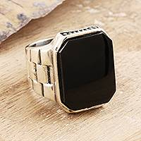 Men's onyx ring, 'Handsome Allure' - Men's Oxidized Sterling Silver and Black Onyx Ring