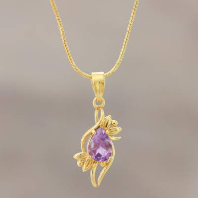 Gold plated amethyst pendant necklace, Bengal Blossom
