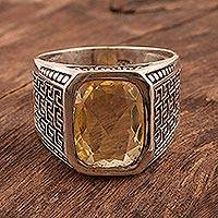 Men's citrine ring, 'Golden Greek Key' - Three Carat Men's Citrine Ring with Greek Key Motif