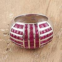 Rhodium plated ruby cocktail ring, 'Ruby Glory' - Ruby and Sterling Silver Cocktail Ring