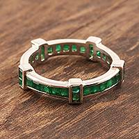 Emerald band ring, 'Viridian Treasure' - Stunning Channel-Set Emerald Band Ring