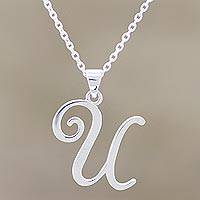 Sterling silver pendant necklace, 'Dancing U' - Name Initial U Sterling Silver Pendant Necklace