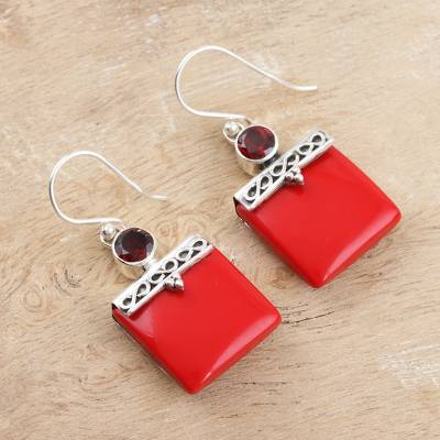 Calcite and garnet dangle earrings, 'Glory in Red' - Red Calcite and Garnet Silver Dangle Earrings