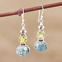 Citrine dangle earrings, 'Sparkling Energy' - Composite Turquoise and Citrine Silver Dangle Earrings